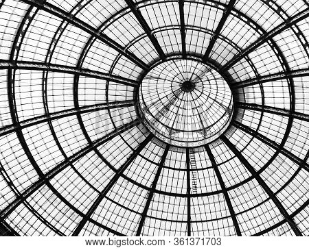Miland, Italy: April 14. 2017 - Glass Dome Of Galleria Vittorio Emanuele Ii Shopping Gallery. Milan,