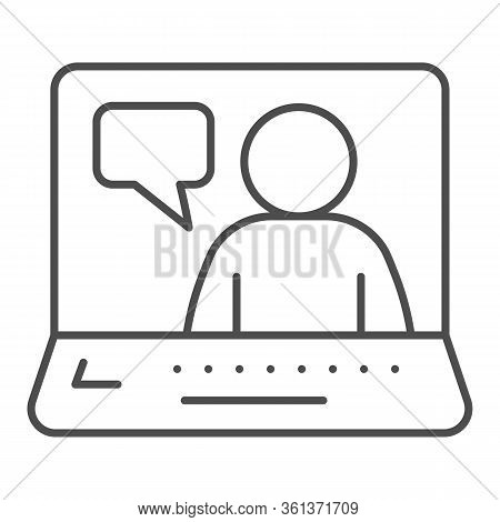 Online Job Interview Thin Line Icon. Video Conference With Candidate Outline Style Pictogram On Whit