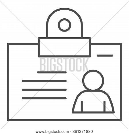 Personal Badge Thin Line Icon. Id Card With Photo For Object Pass Outline Style Pictogram On White B