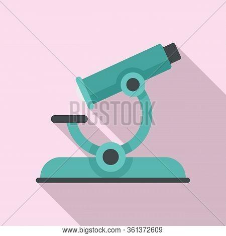 Lesson Microscope Icon. Flat Illustration Of Lesson Microscope Vector Icon For Web Design