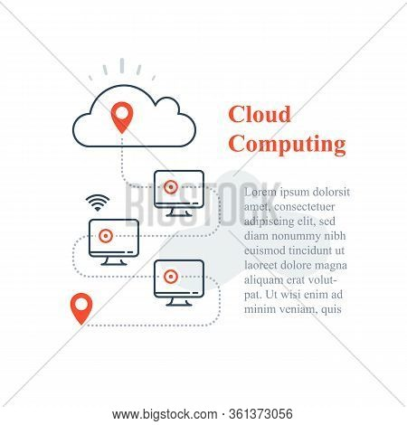 Cloud Computing System, Remote Work Access, Wireless Technology, Computer Network Connection, Distan