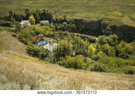 Village Rural Country Side Landscape Scenic View From Above Aerial Foreshortening A Few Rustic House