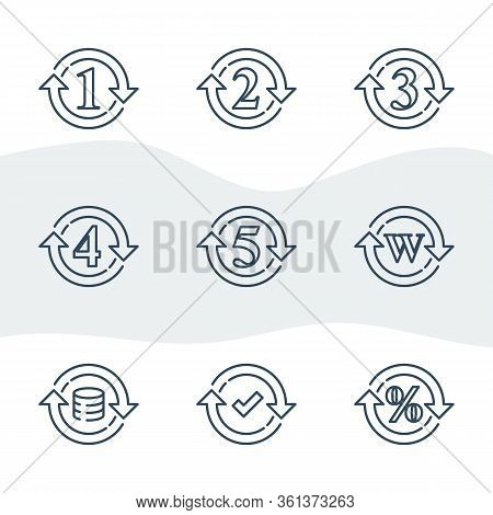 One Or Five Year Warranty Sign, Number Two In Circle Arrow, Round Three Symbol, Durable Product, Dur