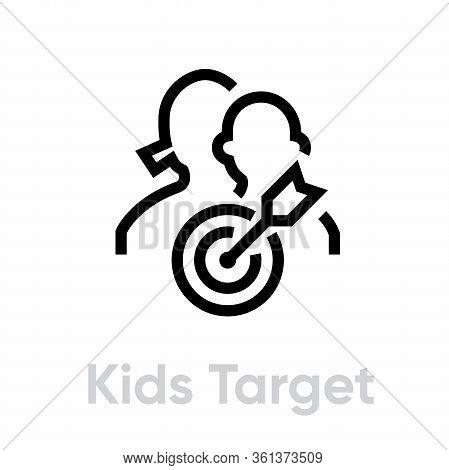 Kids Target Business Icon. Editable Line Vector.