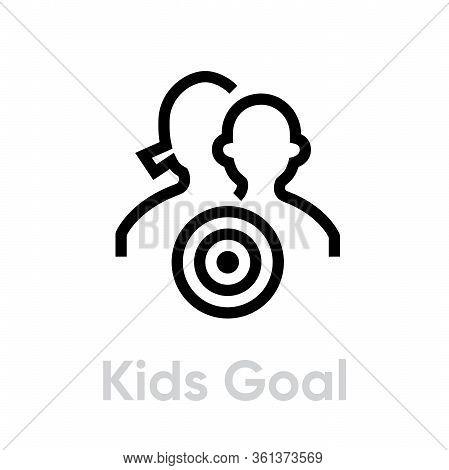 Kids Goal Target Business Icon. Editable Line Vector.