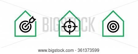 Set Of Building With Goal, Aim And Purpose With Arrow Target Business Icons. Editable Line Vector.