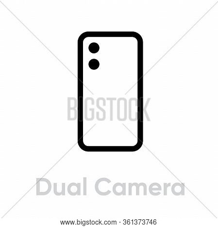 Dual Camera Phone Icon. Editable Line Vector.