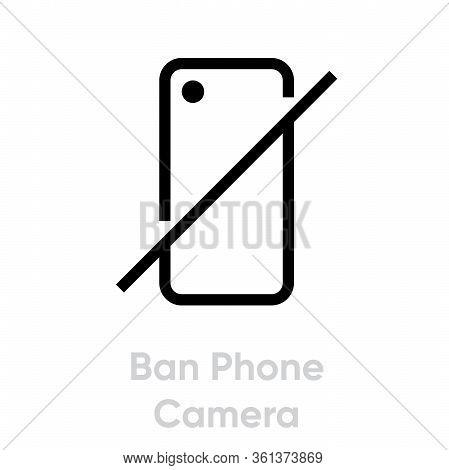 Ban Phone Camera Icon. Editable Line Vector.