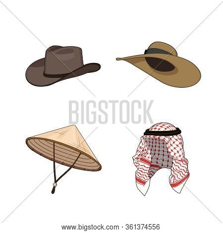 Set Of Traditional Hats And Head Accessories. Chinese Or Vietnamese Triangle Bamboo Hat, Cowboy Nad