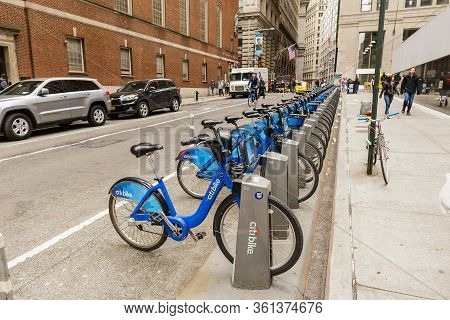 New York City, Usa - March 10, 2020: Citi Bike Station On Wall Street In Nyc. Bike Share System Hit