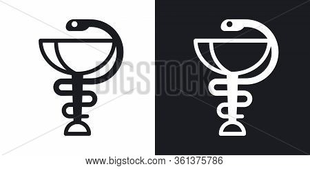 Pharmacy Icon With Caduceus Symbol Or Hygieia Bowl. Simple Two-tone Vector Illustration On Black And