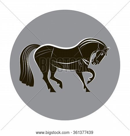 Black And White Horse. Racing Horse Silhouette Isolated. Stylish Outline Horse On Gray Circle Backgr