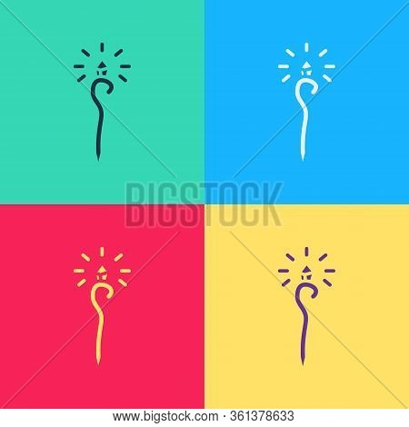 Pop Art Magic Staff Icon Isolated On Color Background. Magic Wand, Scepter, Stick, Rod. Vector Illus