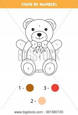 Color Cute Cartoon Teddy Bear By Numbers. Educational Game For Children.