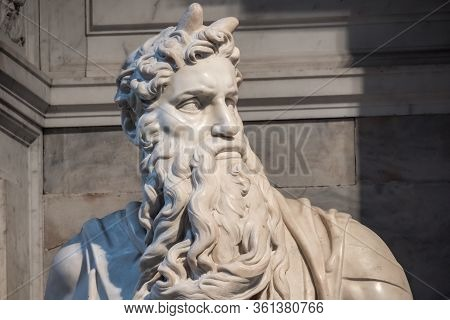 Rome, Italy, May 2018: Detail Of The Marble Statue Of Moses Sculpted By Michelangelo Located In San