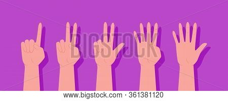 A Set Of Hands. Set Of Counting Hands Sign From One To Ten. The Finger Gestures. Count On Your Finge