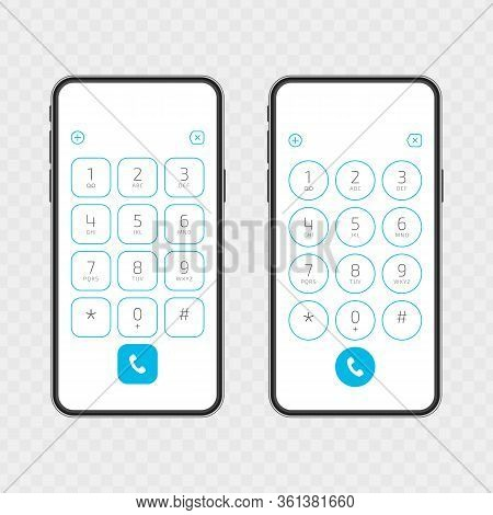 Keypad With Numbers And Letters On Phone Screen. User Interface Keypad For Smartphone. Keyboard Temp