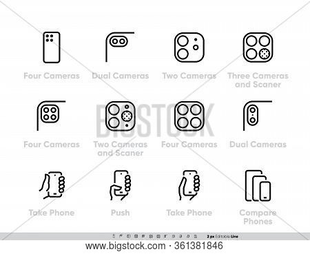 Phone Multi-camera Systems Icons Set. Ultra Wide, Wide, Telephoto Cameras, Scanner, Ar, Lidar
