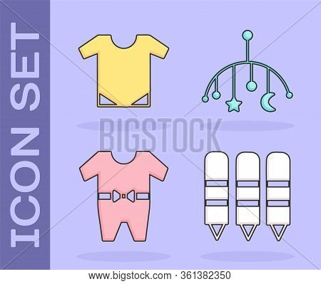 Set Wax Crayons For Drawing, Baby Onesie, Baby Clothes And Baby Crib Hanging Toys Icon. Vector