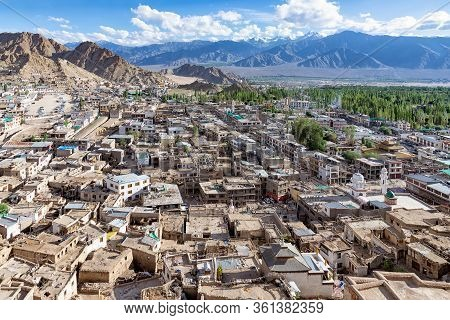 Aerial View Of Old City Of Leh In Ladakh, India. Lah Is The Historical Capital Of The Himalayan King