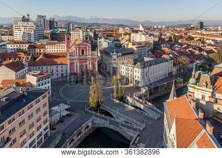 Aerial Drone View Of Preseren Squere And Triple Bridge Over Ljubljanica River, Tromostovje, Ljubljan