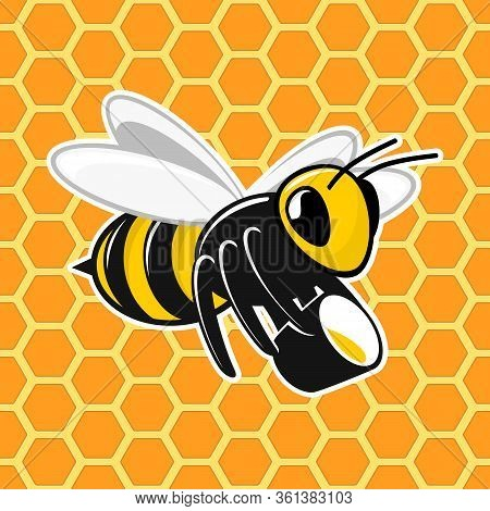 Bee With A Bucket Of Honey On Honeycomb Background. Honey Bee In Flat Style. Seamless Honey Combs Pa