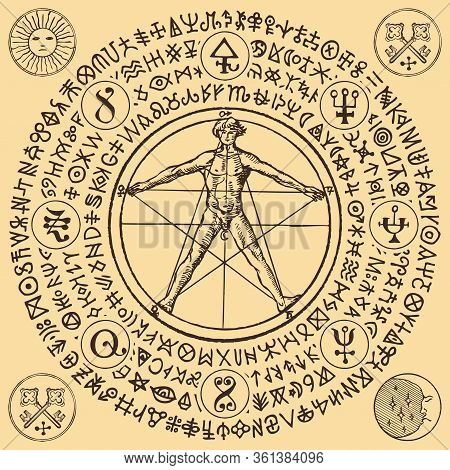 Vector Illustration With A Human Figure Like Vitruvian Man By Leonardo Da Vinci And Alchemical Symbo