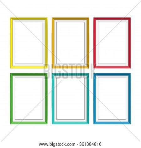 Set Of Colorful Wooden Frames. Wooden Square Picture Frames Of Colorful Set For Your Web Design. Abs