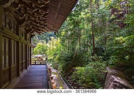 Itsukushima, Japan - April 27, 2014: The Maniden Hall And The Forest In Daisho-in Temple Complex. Th