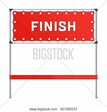 Finish Line With Red Banner Isolated On White Background. Red Ribbon In Finishing Line In Realistic