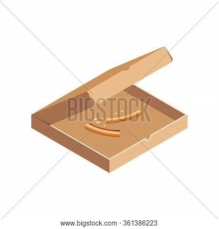 Pizza Crusts In Opened Cardboard Box Isometric Isolated On White Background. 3d Fast Food Scraps Ico