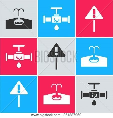 Set Oilfield, Broken Pipe With Leaking Water And Exclamation Mark In Triangle Icon. Vector