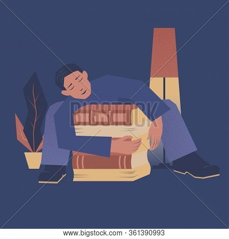 Vector Illustration With A Boy Hugging A Stack Of Books.