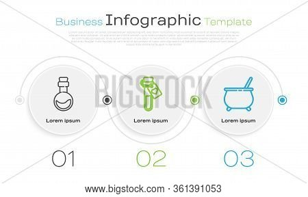 Set Line Bottle With Love Potion, Bottle With Love Potion And Witch Cauldron. Business Infographic T