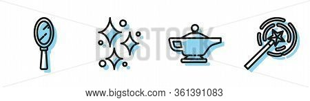 Set Line Magic Lamp Or Aladdin, Magic Hand Mirror, Sparkle Stars With Magical Glitter And Magic Wand