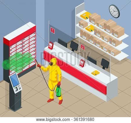Isometric Man Wearing A Protective Suit Disinfects Post Office With A Spray Gun. Virus Pandemic Covi