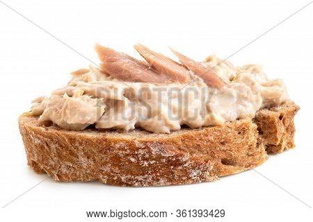 Tuna Mayonnaise With Tuna Flake Garnish On Wholewheat Rustic Bread Isolated On White. Low Angle.