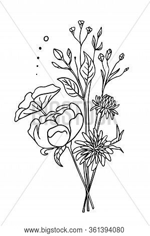 White Flowers Isolated On A White Background. Boho Card With Blooming Peonies. Vector Illustration.