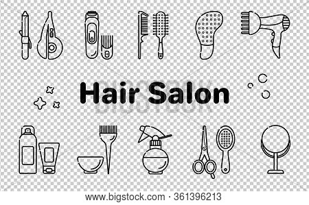 Icons For Barber Shop. Tools For The Master In The Beauty Salon. Comb For Hair, Hair Dryer, Scissors