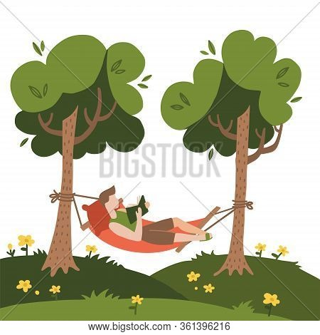 Man Lying In A Hammock And Reading Book. Hammock Hanging Between Green Trees. Flat Hand Drawn Vector