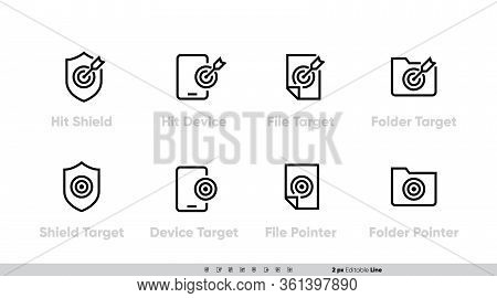 Targets And Mission Icons Vector Set. Hit Shield, Device, Target, File, Folder With Arrows. Editable