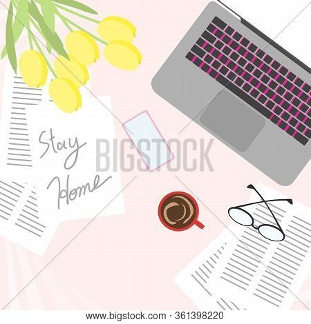 Laptop For Work From Home Concept. Covid-19