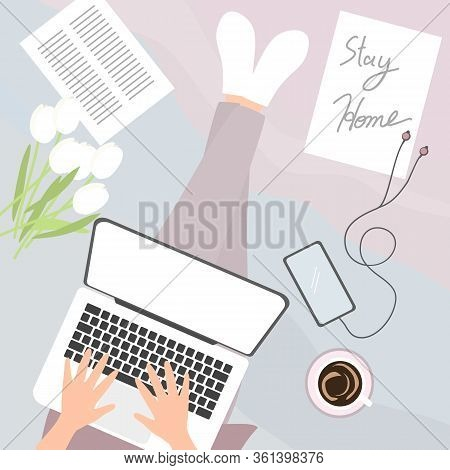 Girl Work From Home Concept. Covid-19 Issue