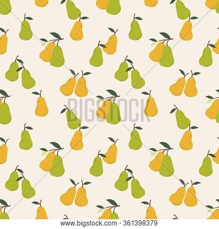 Summer Fruit  Pear Seamless Pattern. Cute Summer Fruit.