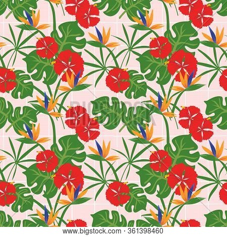 Exotic Tropical Seamless Pattern With Palm Leaves And Colorful Flowers.