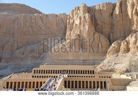 Luxor, Egypt - January 16, 2020 : Temple Of Hatshepsut, Luxor. The Mortuary Temple Of Hatshepsut, Al