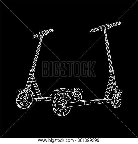 Roller Scooter Balance Kick Push Bike. Eco Alternative City Transport. Wireframe Low Poly Mesh Vecto