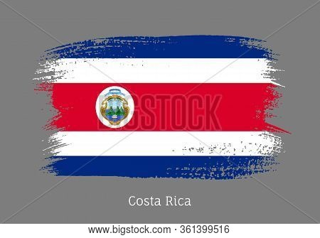 Costa Rica Republic Official Flag In Shape Of Paintbrush Stroke. Country National Identity Symbol Fo
