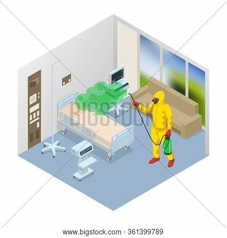 Isometric Man Wearing A Protective Suit Disinfects Hospital Ward With A Spray Gun. Virus Pandemic Co
