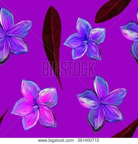 Frangipani Plumeria Tropical Flowers On Violet Background. Seamless Pattern Background. Tropical Flo
